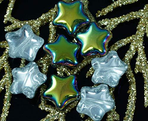 Metallic Iris Green Clear Czech Glass Star Beads 12mm 12pcs