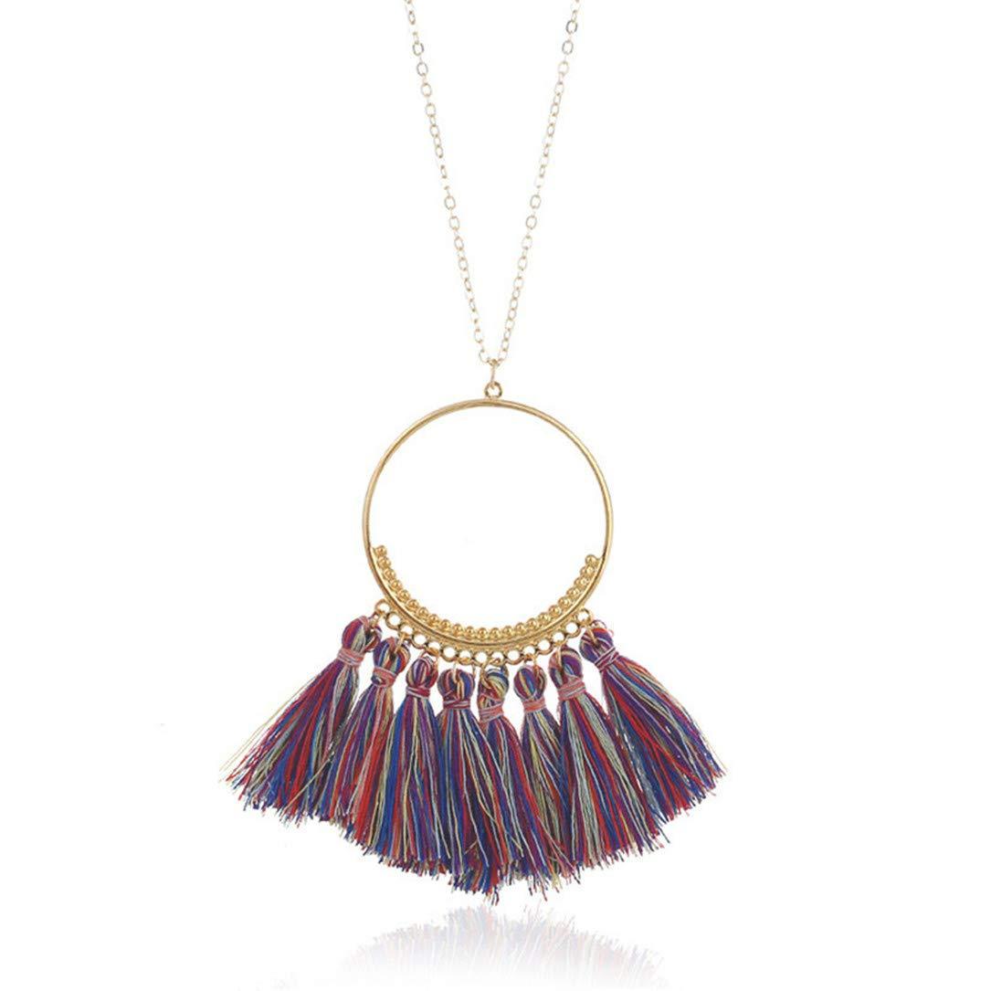 lehao Vintage Bohemian Tassel Pendant Necklace Thread Fringe Long Necklaces Pendants Charm Jewelry For Women,Sapphire color