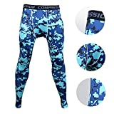 Xtextile Mens Camouflage Sports Compression Tight leggings (Medium, Blue camouflage)