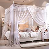 XRXY Mosquito Net Creative Adjustable Floor-Standing Mosquito Net/Encryption Thicken Practical European Style Mosquito Net/Square Lace Bed Mantle (10 Colors Optional) (Color : J, Size : 1.2m)