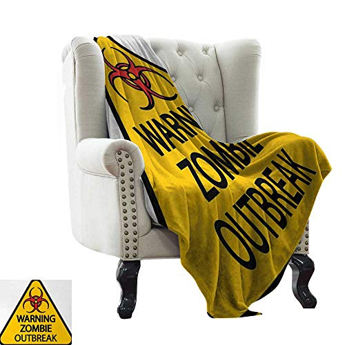 LsWOW Yoga Blanket Zombie,Warning The Zombie Outbreak Sign Cemetery Infection Halloween Graphic,Earth Yellow Red Black Warm & Hypoallergenic Washable Couch/Bed Throws 60