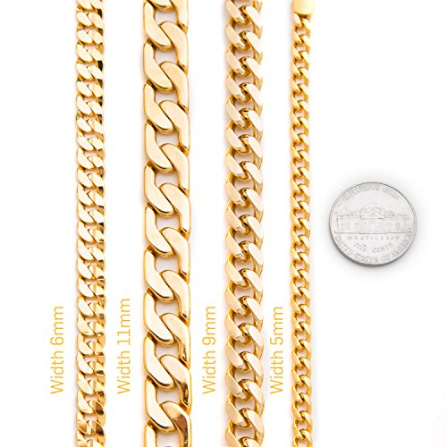 Lifetime Jewelry Cuban Link Bracelet 9MM, Round, 24K Gold with Inlaid Bronze, Premium Fashion Jewelry, Thick Layers Help Resist Tarnishing, 10 Inches by Lifetime Jewelry (Image #3)