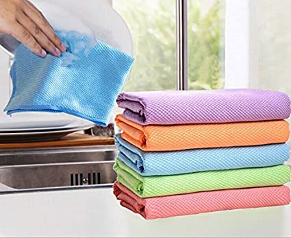 6 Pack toallas de microfibra de vidrio de limpieza de doble cara resistente y reutilizable paños