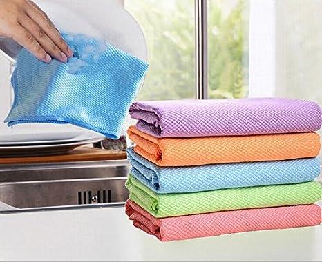 6 Pack toallas de microfibra de vidrio de limpieza de doble cara resistente y reutilizable paños de microfibra para limpieza pulido aparatos de cocina de ...