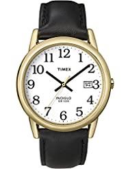 Timex Mens T2H291 Easy Reader Black Leather Strap Watch