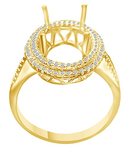 (AFFY 13X10mm Round Cut Natural Diamond Halo Style Semi Mount Ring in 14K Solid Yellow Gold)