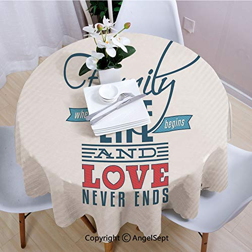 """AngelSept Tablecloths Easy Care,Vintage Greeting Card Inspired Design with a Quote About Family and Love,35"""" Round,for Everyday use,Black Light Blue Red"""