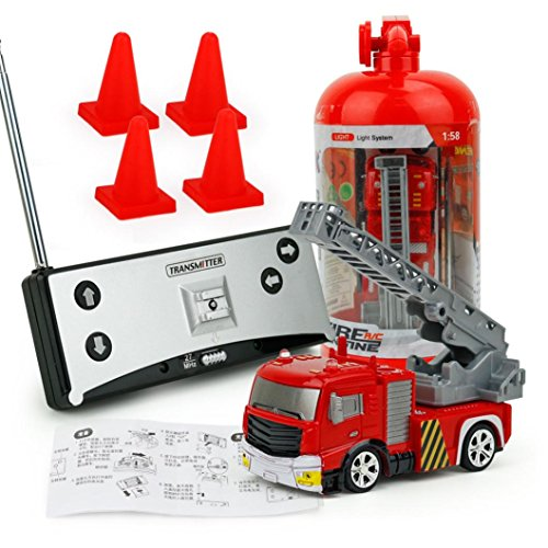 Leegor 9cm Remote Control Car RC Rescue Fire Engine Truck Red Toy For Kids Christmas Gift Development Toy (B)