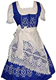 Dirndl Trachten Haus 3-Piece Long German Wear Party Oktoberfest Waitress Dress 6 36 Blue