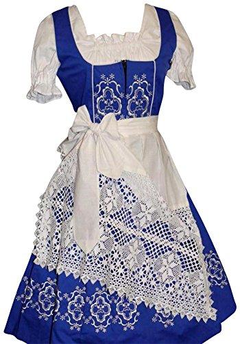 Dirndl Trachten Haus 3-Piece Long German Wear Party Oktoberfest Waitress Dress 18 48 Blue (German Dirndl)