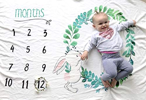 Baby Monthly Milestone Blanket, Infant Newborn Boy Girl First Year, Bonus Floral Growth Marker, Unisex 12 Month Design, Large 60 x 40 Photo Prop Background, Premium Luxurious Soft Flannel Fleece