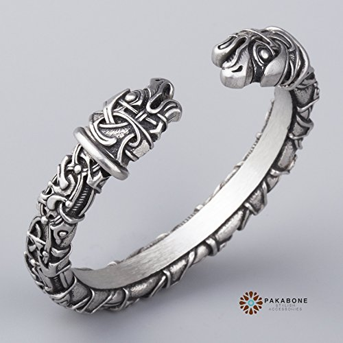 Viking Bracelet Oseberg Style With Odin's Ravens Hugin & Munin Scandinavian Arm Ring Viking Jewelry - Arm Tin
