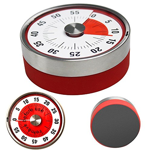 Mechanical Kitchen Timer, Magnetic Oven Timers Loud Sound Ring, 60 Minutes Capacity Refrigerator Decor, Visual Stainless Steel Wind Up Time Tools for Kids Teachers Housework Sport Cooking GYM BBQ