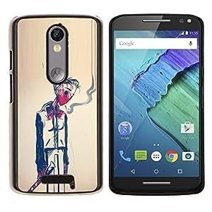 LECELL--Funda protectora / Cubierta / Piel For Motorola MOTO X3 3rd -- Hombre Humo Muerte Pintura Arte Simbólico --