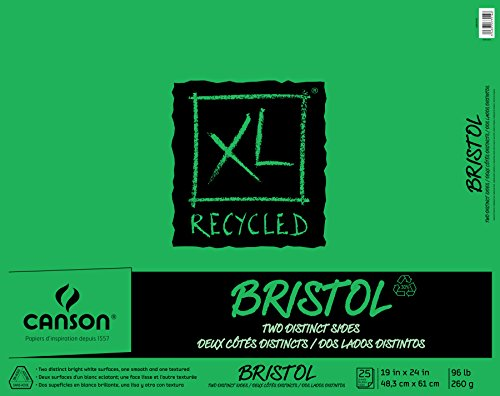 Canson XL Series Recycled Bristol Paper Pad, Dual Sided Smooth and Vellum for Pencil, Marker or Ink, Fold Over, 96 Pound, 19 x 24 In, White, 25 Sheets (Board X 18 24 Bristol)