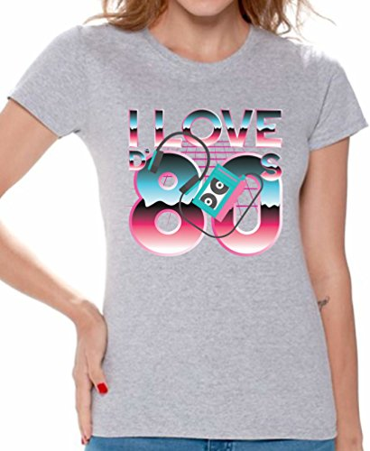 Awkward Styles 80s Shirts 80s Clothes for Women 80s Disco Theme I Love The 80s Grey L