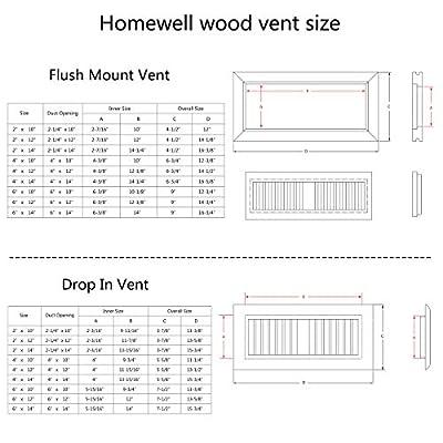 Homewell Oak Wood Floor Register Vent Cover, Flush Mount Vent, 2X12 Inch, Unfinished