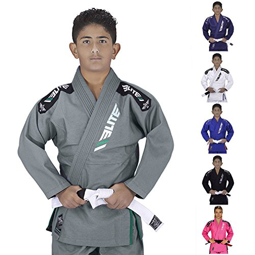 Elite Sports IBJJF Ultra Light BJJ Brazilian Jiu Jitsu Gi for Kids with Preshrunk Fabric and Free Belt, C0, Gray