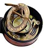 MAH Maritime Sundial Beautiful Compass with Leather Box. C-3096