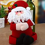 Christmas Wine Bottle Cover Decorative Christmas Wine Bottle Hug Santa Snowman Shape Wine Bottle Topper for Christmas Party Table Decoration 1PC (A)