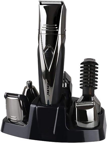 Máquina de afeitar eléctrica a prueba de agua IPX6 recargable, Kit de afeitadora multifuncional 5 en 1, Máquina de ...