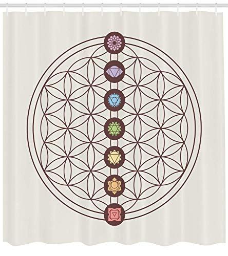 Abaysto Flower of Life Sacred Geometry Themed Various Shapes Triangles Circles Squares Chakra Zen Multicolor Bathroom Decor Shower Curtain Sets with Hooks Polyester Fabric Great Gift