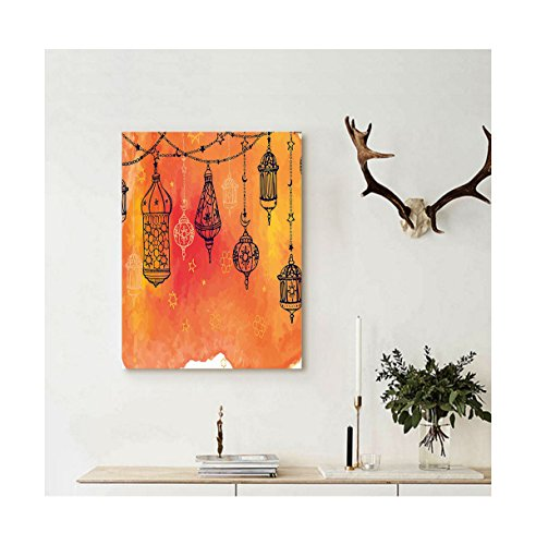 Liguo88 Custom canvas Traditional Islamic Lanterns Garland Arabesque Middle Eastern Oriental Artwork Wall Hanging for Orange Vermilion Black (Oriental Lantern Cross Stitch Kit)