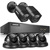 ANNKE 8CH CCTV Camera Systems 1080P Lite Surveillance H.264+ DVR and (6) 1280TVL CCTV Security Cameras with IR-cut Day/Night Vision, Email & Push Notification, Smart Playback, NO HDD