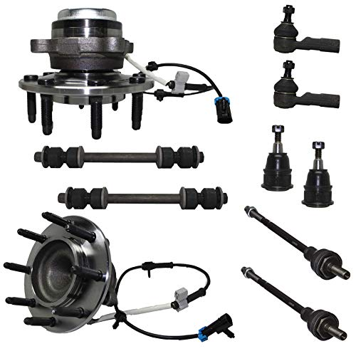 Detroit Axle - 10PC Front Wheel Hub Bearing Assembly w/Upper Ball Joints, Sway Bars, Inner and Outer Tie Rods for 2003 2004 2005 2006 2007 2008 2009 2010 Chevy Express GMC Savana 2500/3500-2WD (Express Wheels)