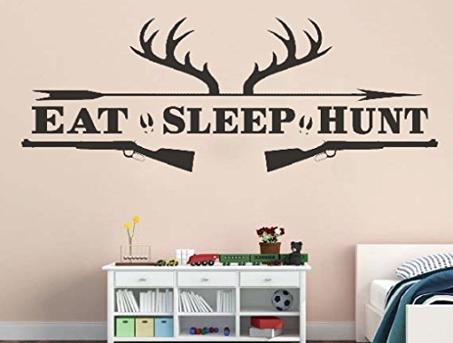 (Eat Sleep Hunt Deer Antlers Arrow & Shotguns Removable Vinyl Wall Art Quotes Decal Sticker)