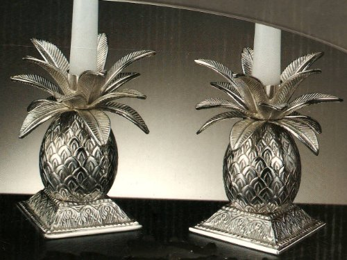Silver Plated Pineapple Candle Holdres, Set of (Godinger Silver Plated Plates)