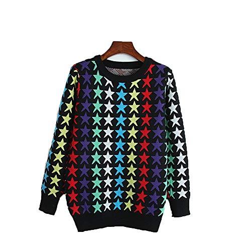 ZHJTMC Automne col rond manches longues mode couleur sauvage motif toile pull court vtements pour femmes Multi-colored