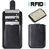 Phone Card Holder Credit 3M Stick Back On Wallet Pull 5Business Card Holder for Back of Phone Cell RFID Card ID Holder Adhesive Phone Pocket for iPhone Xs MAX Android and All Smartphones (Black)