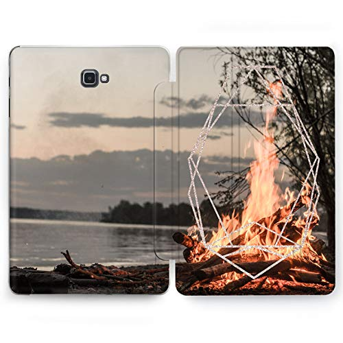 Wonder Wild Lake Fire Samsung Galaxy Tab S4 S2 S3 A E Smart Stand Case 2015 2016 2017 2018 Tablet Cover 8 9.6 9.7 10 10.1 10.5 Inch Clear Design Picture Camping Shore Flame Tree Sunset Trip Adventure -