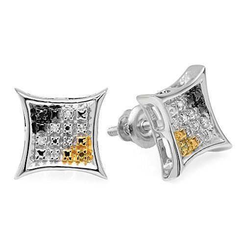 0.06 Carat (ctw) Sterling Silver Black, White & Yellow Diamond Mens Kite Shape Hip Hop Stud (0.06 Ct White Diamond)