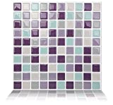 Tic Tac Tiles Anti-mold Peel and Stick Wall Tile in Mosaic Violetmint (10 tiles)