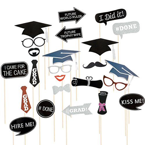 Rubikliss 24pcs Graduation Photo Booth Props Kit Party Favor with Mustache, Hats, Glasses, Lips, Bowler, Bowties on Sticks, Graduation Party Decorations, Graduation Party Supplies Favors