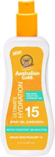 product image for Australian Gold Spray Gel Sunscreen SPF 15, 8 Ounce | Moisturize & Hydrate Skin | Broad Spectrum | Water Resistant | Non-Greasy | Oxybenzone Free | Cruelty Free