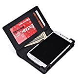 KroO Vintage Black Genuine Leather Unisex BiFold Wallet for Huawei Ascend G6, P1 P1s, P6 P6s Smartphone