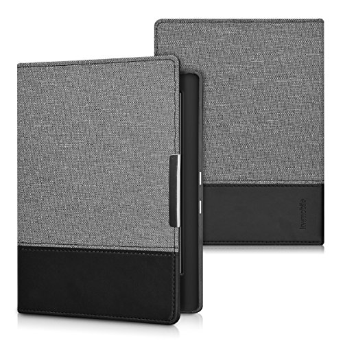 kwmobile Case Compatible with Kobo Aura H2O Edition 1 - PU Leather and Canvas e-Reader Cover - Dark Grey/Black