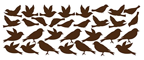 Cheap Bird Wall Decal Stickers Peel and Stick Decor Flying and Sitting Removable and Reusable Vinyl Wall Art Decor Addon For large Tree Decals #1387 (Large, Matte Brown)