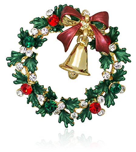 Akianna-Swarovski-Element-Crystals-Wreath-and-Gold-tone-Bell-Brooch-Pin
