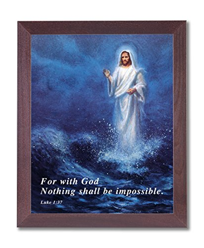Jesus Christ Walking On Water Religious Picture Framed Art Print