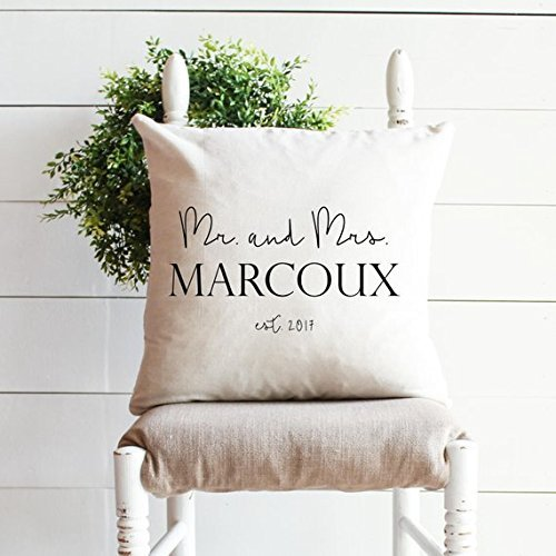 MR. and MRS. WEDDING pillow cover, Personalized pillow cover, Last name pillowcase, Farmhouse style gift, Wedding pillowcase, Home Decor -