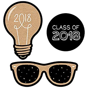 Bright Future - DIY Shaped 2018 Graduation Party Cut-Outs - 24 Count