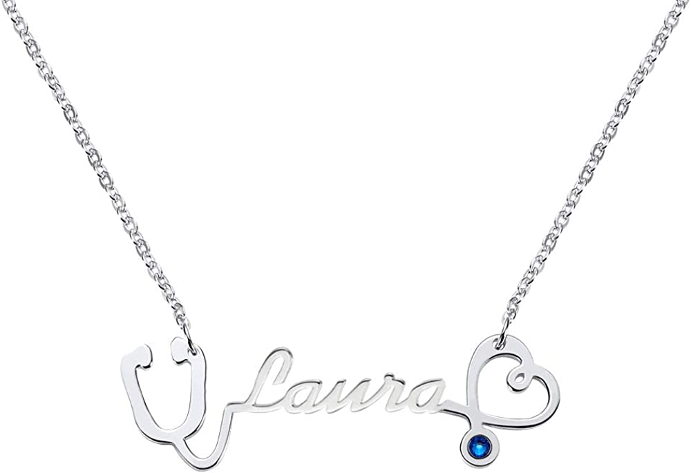Funcok Personalized 925 Sterling Silver Stethoscope Custom Name Necklace Pendant Jewelry