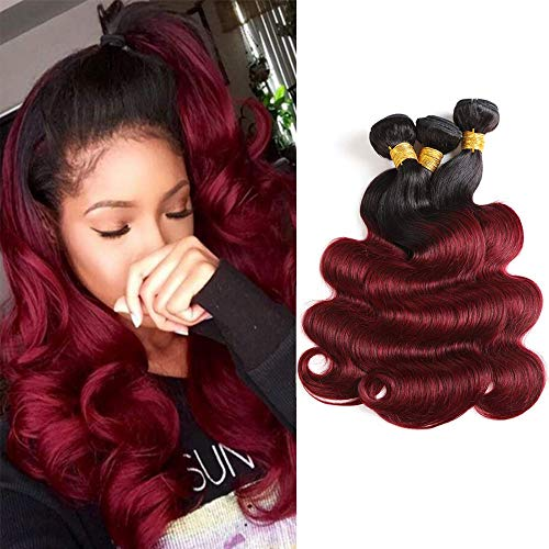 Baiermei Hair Ombre Wine Red Brazilian Virgin Hair Extensions Body Wave 3 Bundles Two Tone Color T1B 99j Human Hair Weave Bundles (16