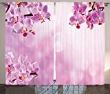 Spa Decor Curtains Wild Orchid Petals in Monochrome Design Bouquet Spring Bloom Seedling Growth Peaceful Nature Print Living Room Bedroom Decor 2 Panel Set Pink