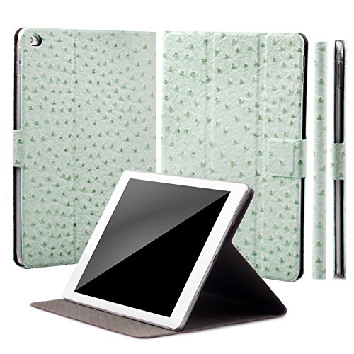 Caiman Croc (Apple iPad Air 2 Case | 360° Rotating Stand | Ostrich mint green | iCues Manzano Cover | other Leather - and color variations available | Smart Wallet Flip Thin Ultra Slim)