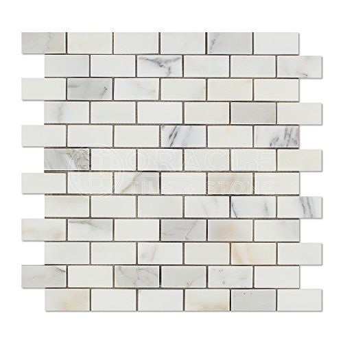 Calacatta Gold (Italian Calcutta) Marble 1 X 2 Brick Mosaic Tile, Polished